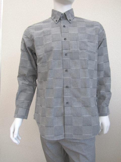 綿素材秋冬オススメ グレー格子柄ボタンダウン カジュアルシャツ