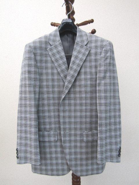 春夏/サマーウール麻混/涼しい軽量テーラードジャケット/チェック