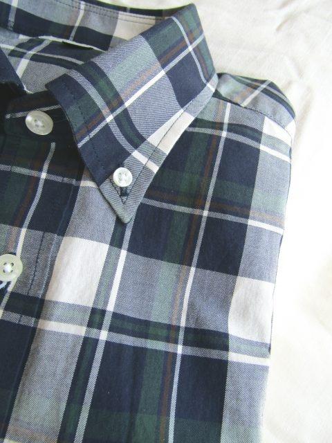 ブロードマドラスチェック秋冬ボタンダウンシャツ