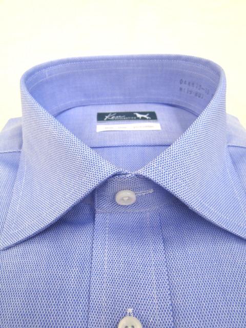 kenコレクション綿100%形態安定/鹿の子織ブルー/セミワイドカラー