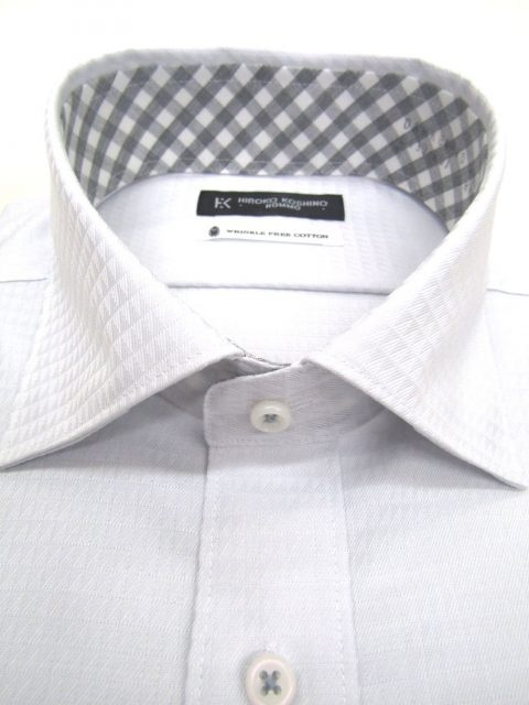 HIROKO KOSHINO(ヒロココシノ)綿100%形態安定/ドビー柄セミワイドカラーシャツ/ライトグレー
