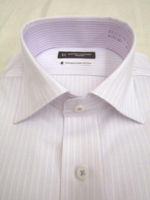 HIROKO KOSHINO(ヒロココシノ)綿100%形態安定/ドビー柄セミワイドカラーシャツ/パープル