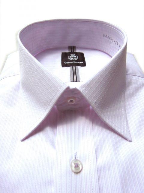 形態安定レギュラーシルエット/ピンクストライプシャツ